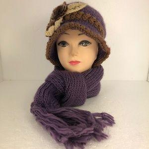 Ladies Knitted Flower Hat/Beanie & Scarf Set Purpl